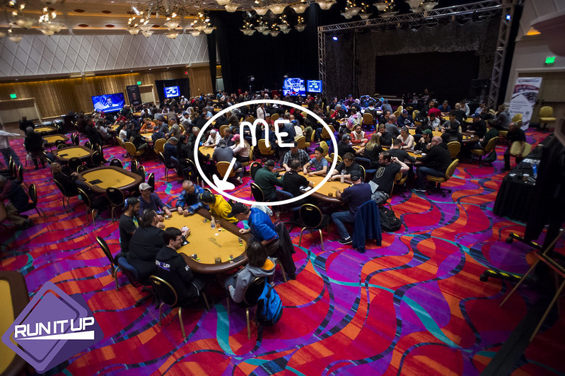 A wide shot of the tournament room at Run It Up Reno